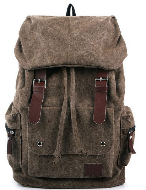 Vintage Canvas Backpack With Leather Accents Only $14.99!
