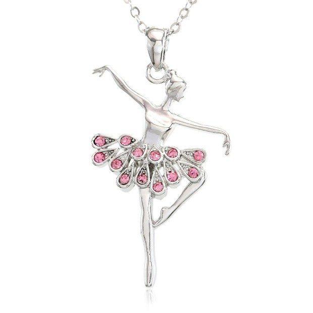 Light Pink Dancing Ballerina Pendant Necklace Just $7.99!  Ships FREE!