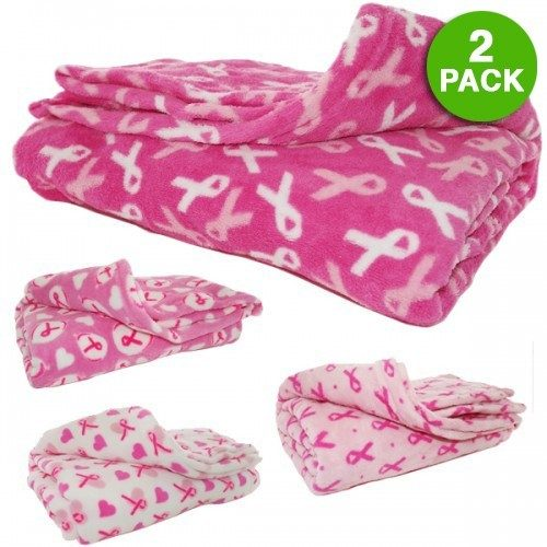 Breast Cancer Awareness Plush Throw Blanket 2 Pk Just $19.99! Ships FREE!