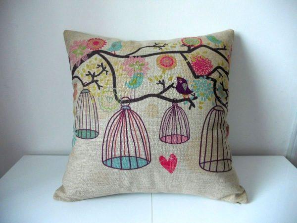 bird and birdcage decorative throw pillow