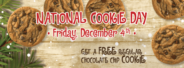 FREE Chocolate Chip Cookie On 12/4!