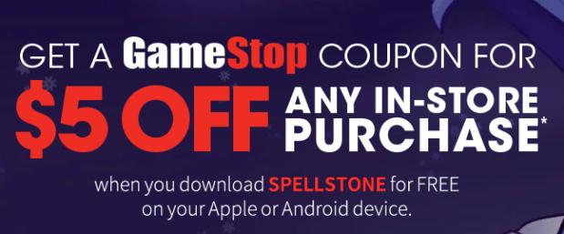 FREE $5 off $5 at Gamestop Coupon!