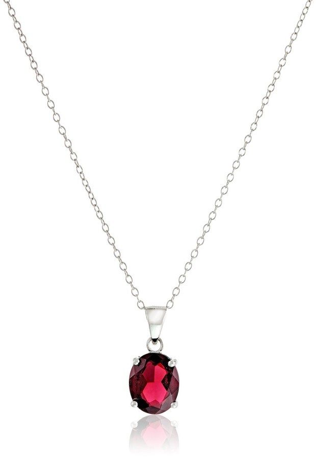 """Sterling Silver and Garnet Pendant Necklace, 18"""" Just $16.50!  Down From $75!!"""
