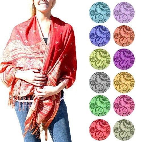 Luxurious Silk Blend Patterned Pashmina Fringed Scarves - Choose From 16 Colors - Only $7.99 + FREE Shipping!