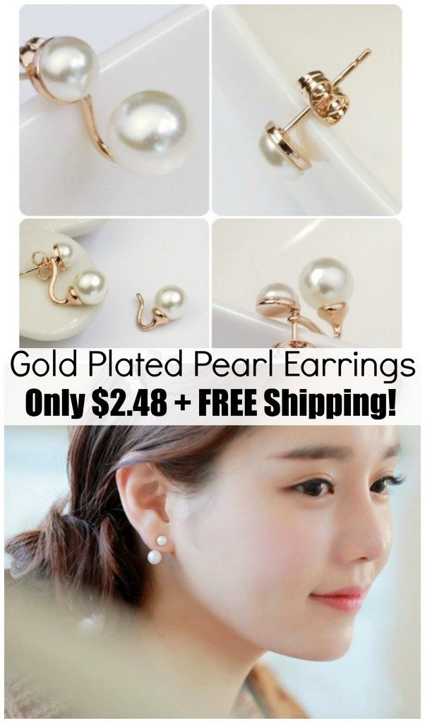 Gold Plated Double Pearl Earrings Only $2.48 + FREE Shipping!