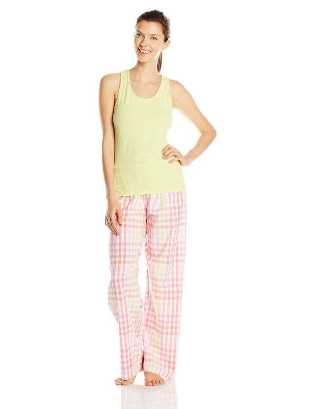 Hanes Women's Ladies Tank with Woven Sleep Pant Pajama Set Only $11.67!