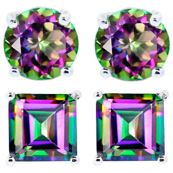 2 CTW Genuine Mystic Topaz Stud Earrings Only $9.99! Down From $185.00! Ships FREE!