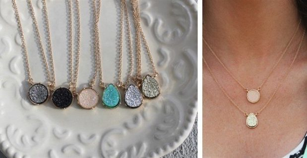 Dainty Druzy Necklace Only $7.74 Shipped!