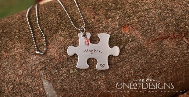 Customized Puzzle Piece Necklace Only $13 Shipped!