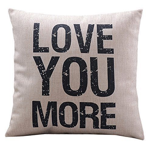 """Throw Pillow Cushion Cover Love You More Square 18"""" Only $3.29!  Ships FREE!"""