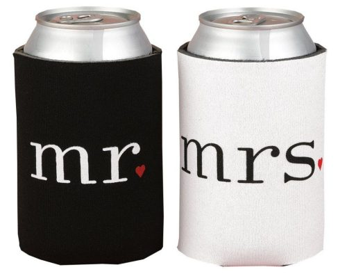mr. and mrs. can coozies