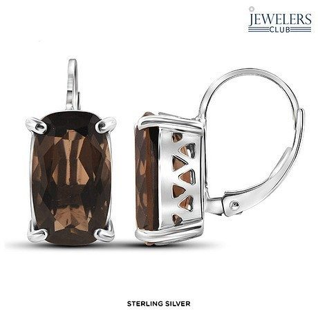 Genuine Smoky Quartz Oval Drop Earrings in Sterling Silver Only $21 Shipped!