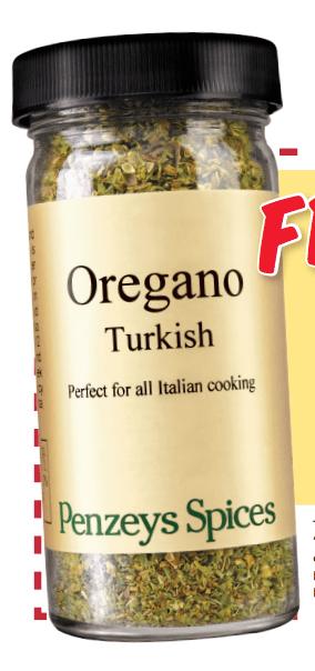 FREE 1/2 Cup Jar Of Penzey's Spices Turkish Oregano!!