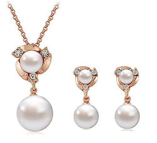 Gorgeous Pearl and Crystal Necklace and Earring Set Only $4.75 + FREE Shipping!