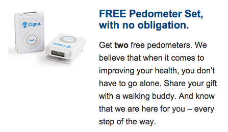 2 FREE Pedometers From CignaHealth!