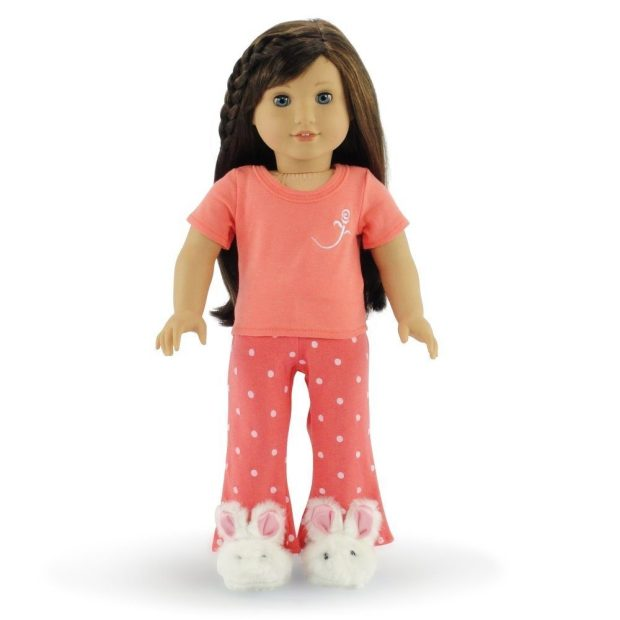 """Compatible With American Girl 18"""" Doll - Coral Pajamas & Bunny Slippers Only $15.95!"""
