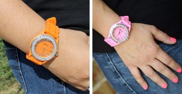 Women's Geneva Rhinestone-Accented Silicone Watch Just $5.98 Shipped!
