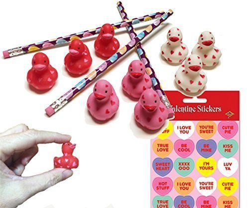 24 Valentine Favors - Rubber Ducks, Pencils, Stickers Just $14.99! (Reg. $25)