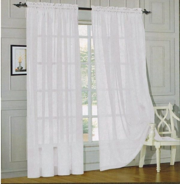 Elegant Comfort® 2 Piece Solid White Sheer Window Curtains Just $6.00 PLUS FREE Shipping!