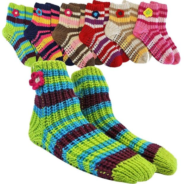 Thick Knit Multi Color Slipper Socks / Non-skid Soles 3 Pr Just $7.99! Ships FREE!