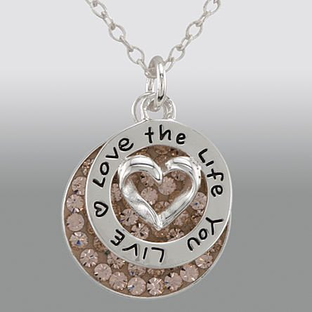 """Sterling Silver """"Love the Life You Live"""" Charm with Round Pink Crystal Pendant Only $11.99! Down From $79.99!"""