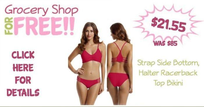 Strap Side Bottom, Halter Racerback Top Bikini Only $21.55! (Was $85)