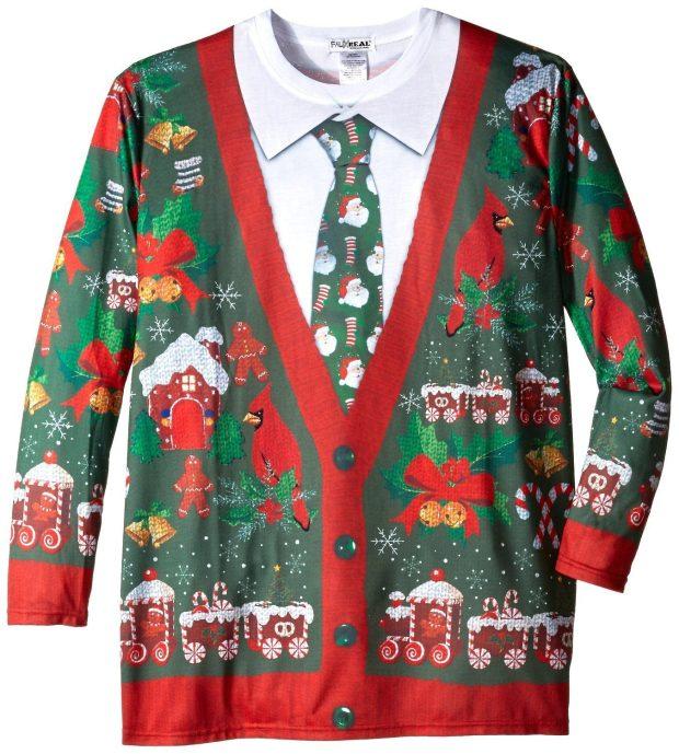 Faux Real Men's Big-Tall Ugly Christmas Cardigan Long Sleeve T-Shirt Just $18.21!