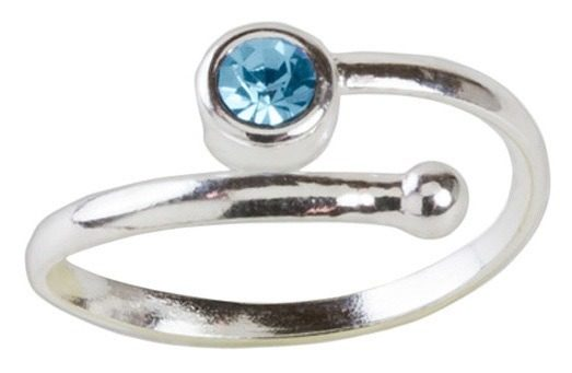 Silver & Aqua Crystal Toe Ring Only $6.99!
