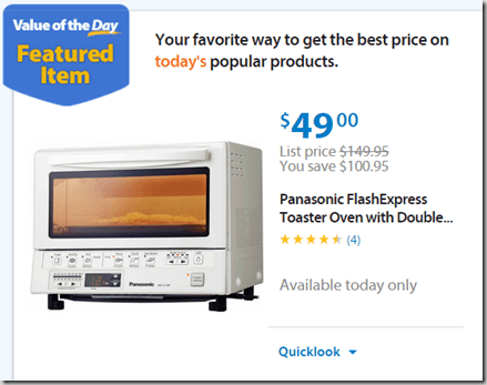 Walmart Value of the Day Panasonic Toaster Oven for $49 or Double