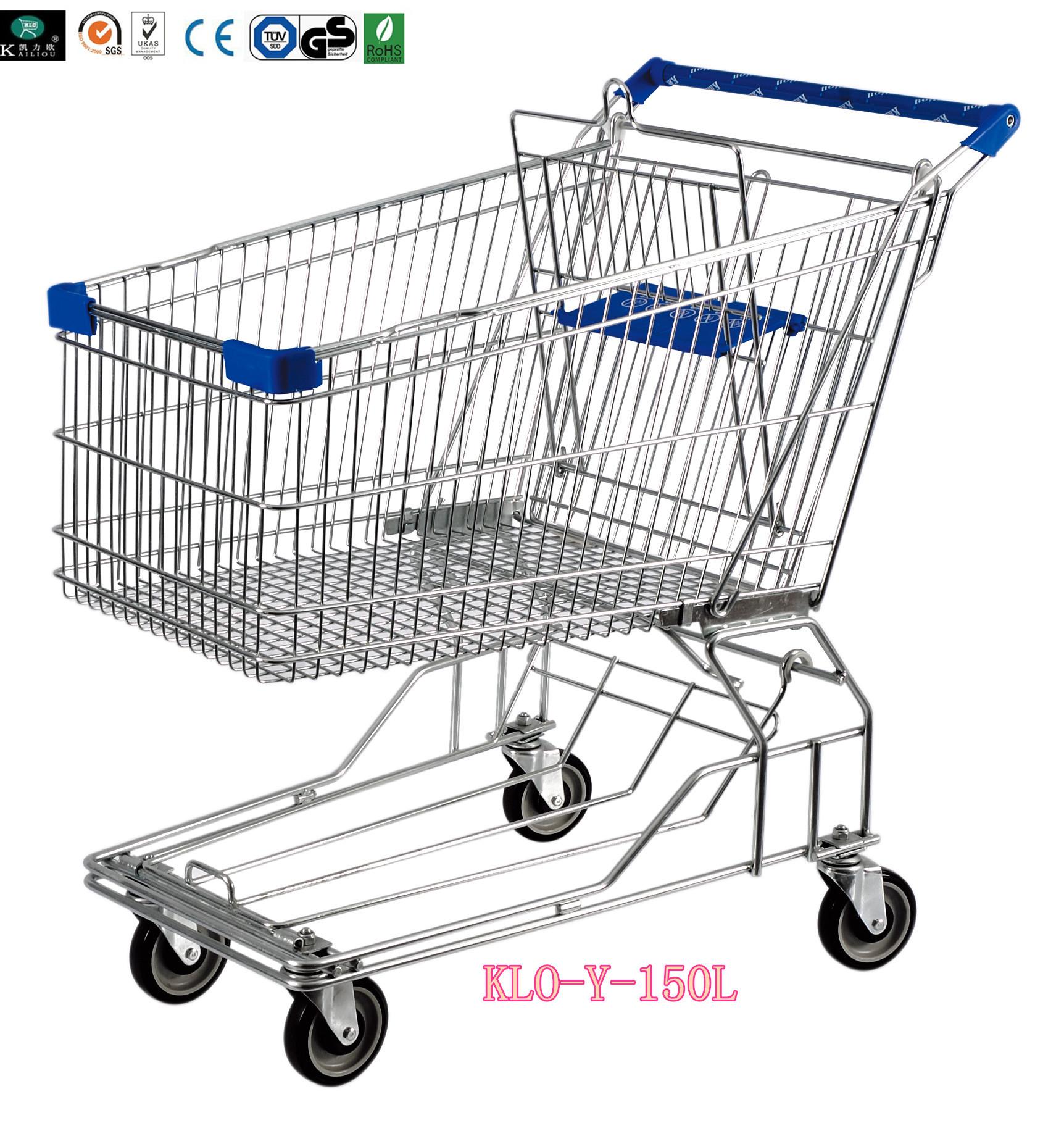 Heavy Duty 4 Wheel Metal Wire Shopping Trolley For