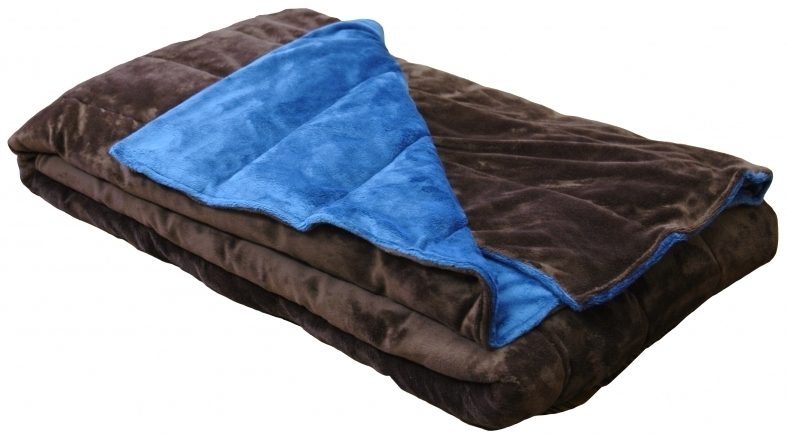 brown and blue weighted blanket