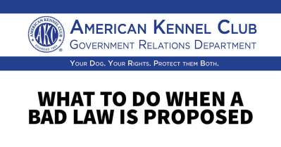 AKC Government Relations: What to Do When a Bad Law Is Proposed