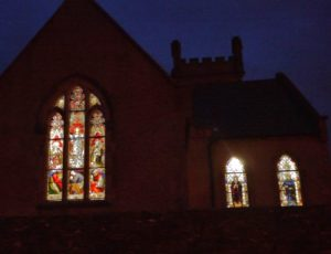 The West Face in Winter, showing the West window along with the Elizabeth and Dorcas windows.