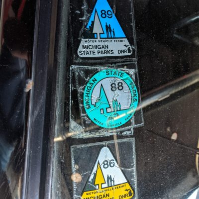 Old windshield stickers