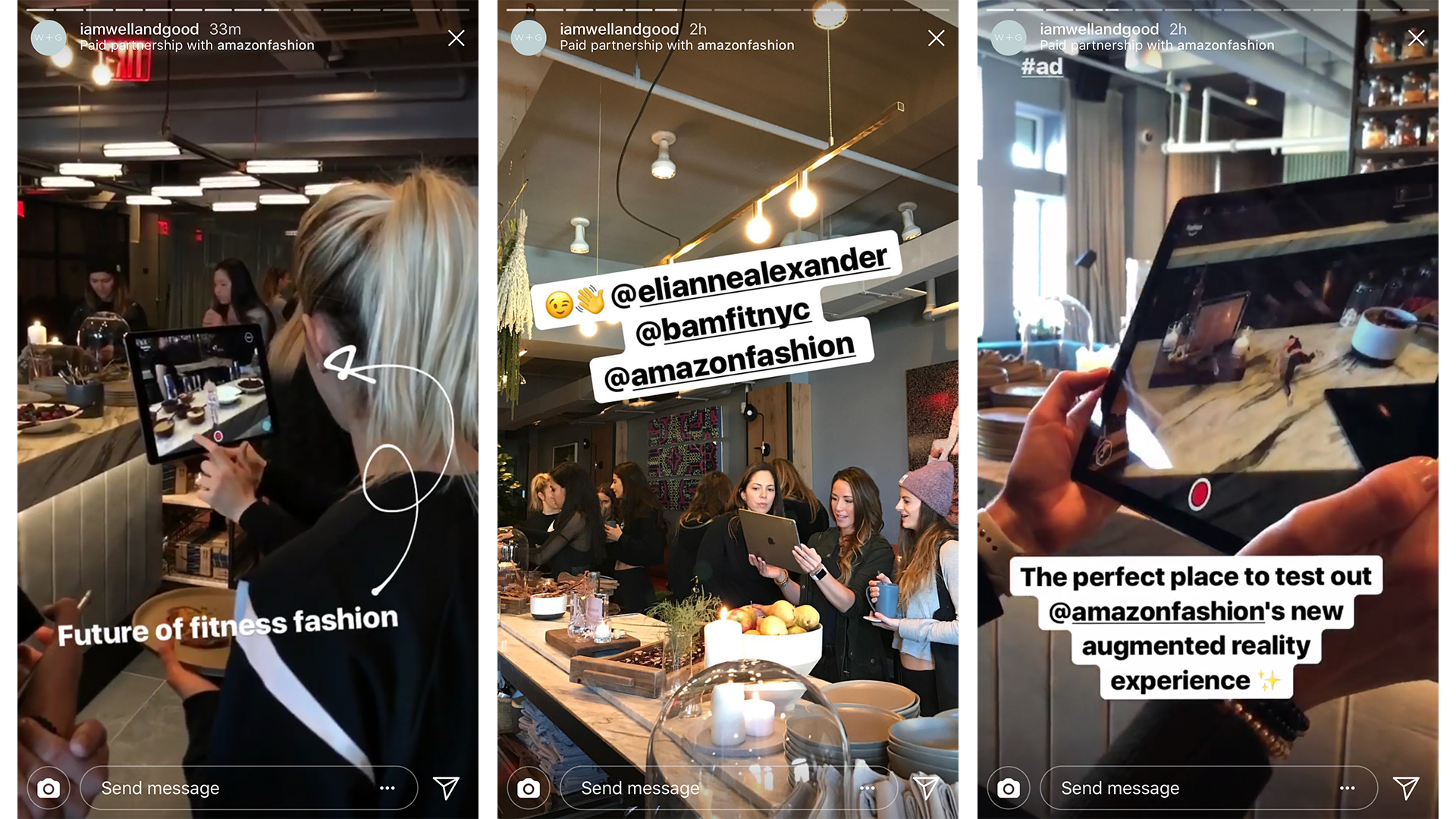Instagram social shares of the Amazon AR Fitness experience