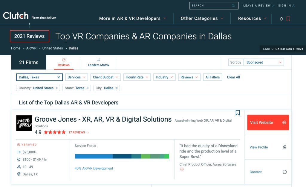 Top AR VR Firm Dallas