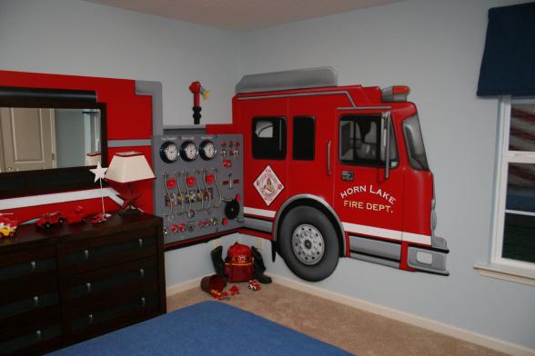 Fire Truck Wall Mural  Groovy Kids Gear