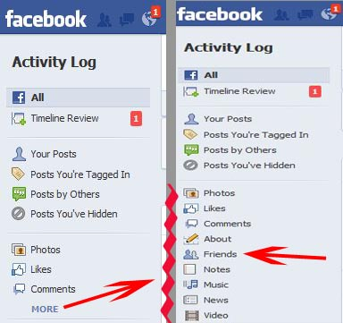 facebook_how to hide friends_activity log