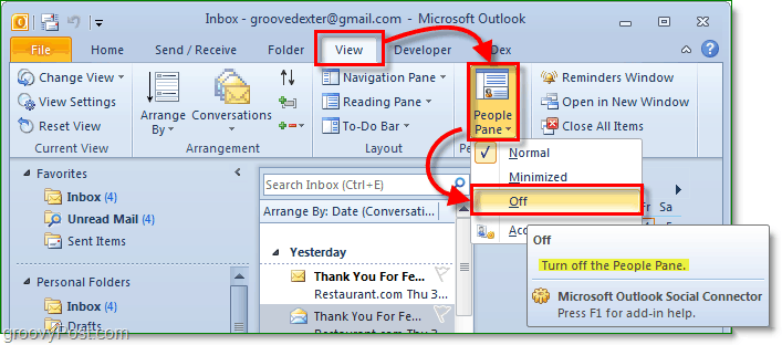 how to turn off the people pane in Microsoft office outlook 2010
