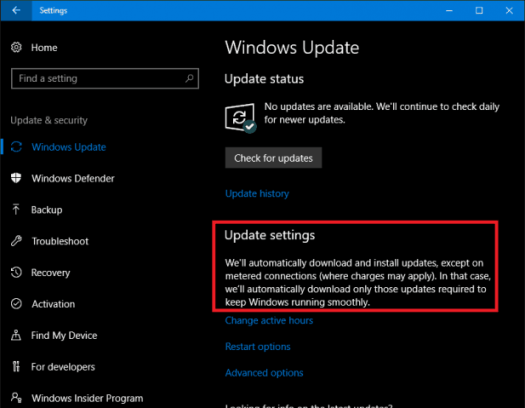 metered connection Windows Update
