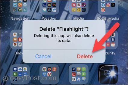 Нажмите «Удалить» в диалоговом окне подтверждения iPhone.
