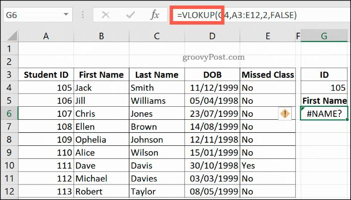 Формула опечатки VLOOKUP в Excel, возвращающая ошибку NAME