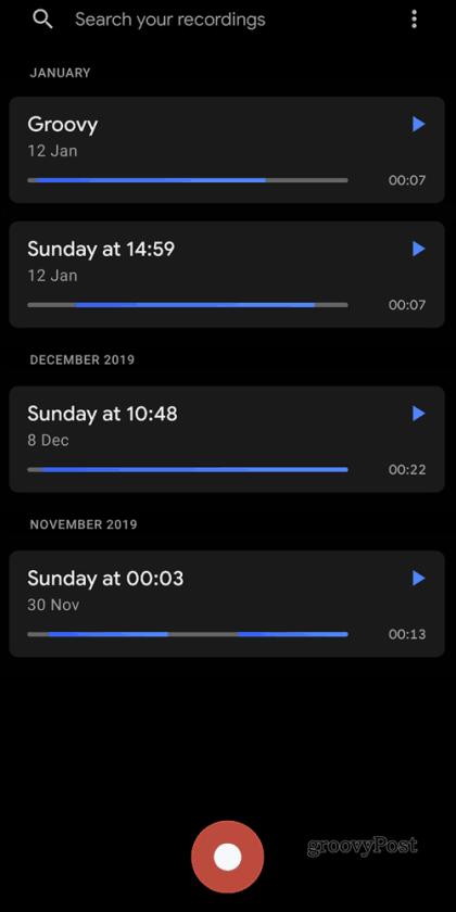 Главный экран Google Recorder