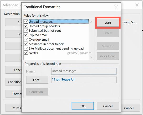 Нажмите кнопку Добавить, чтобы добавить новое правило условного формата в Outlook