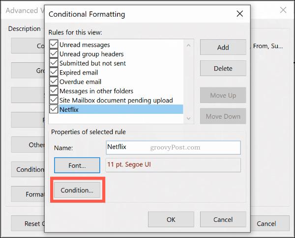 Кнопка Условные условия форматирования в Microsoft Outlook