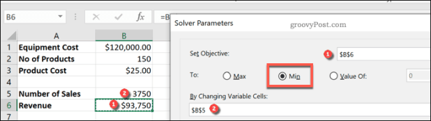 Setting Excel Solver variables