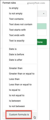 Выбор правил условного форматирования настраиваемой формулы