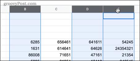 Выбор нескольких ячеек в Google Таблицах