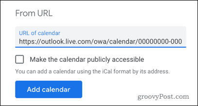 Добавление календаря Outlook в Календарь Google по URL