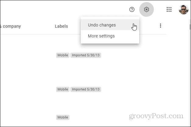 Контакты Google Отменить изменения